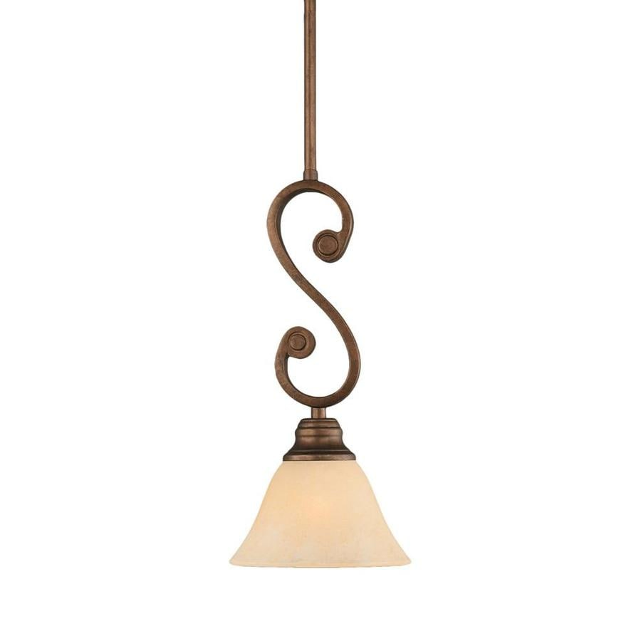 Divina 7-in Bronze Mini Tinted Glass Pendant