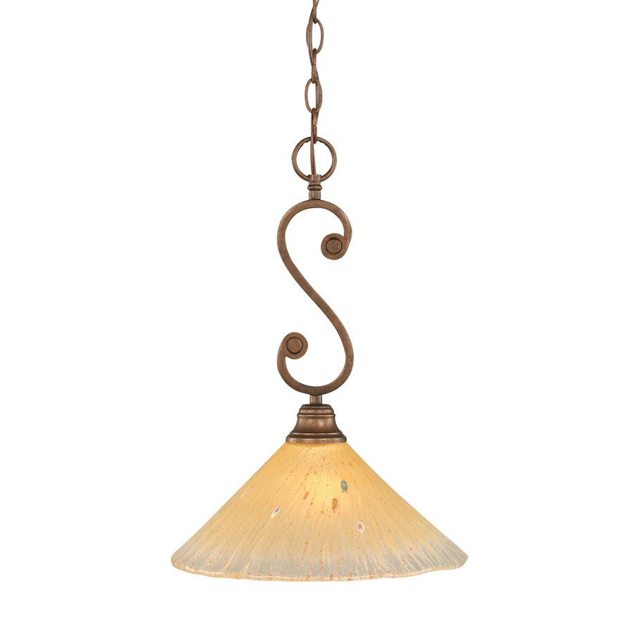 Brooster 12-in Bronze Single Tinted Glass Pendant