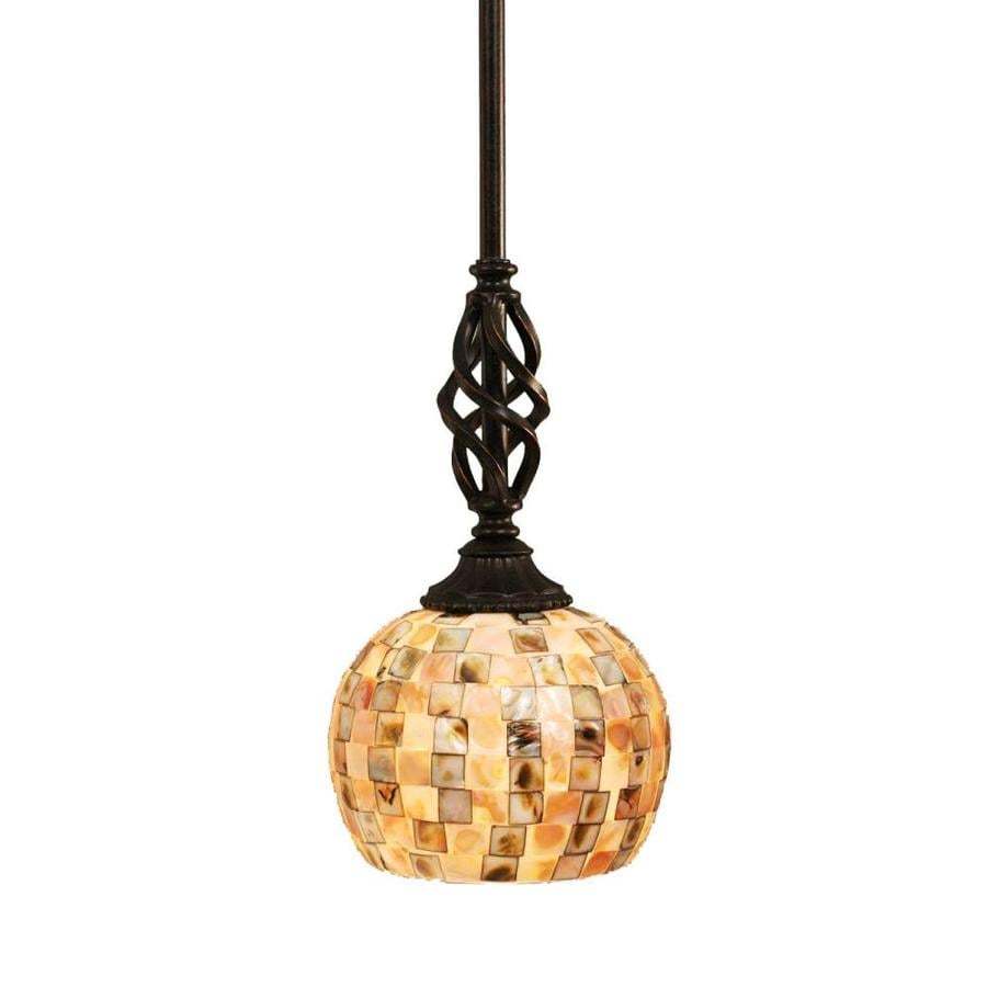 Brooster 6-in Dark Granite Mini Textured Glass Pendant