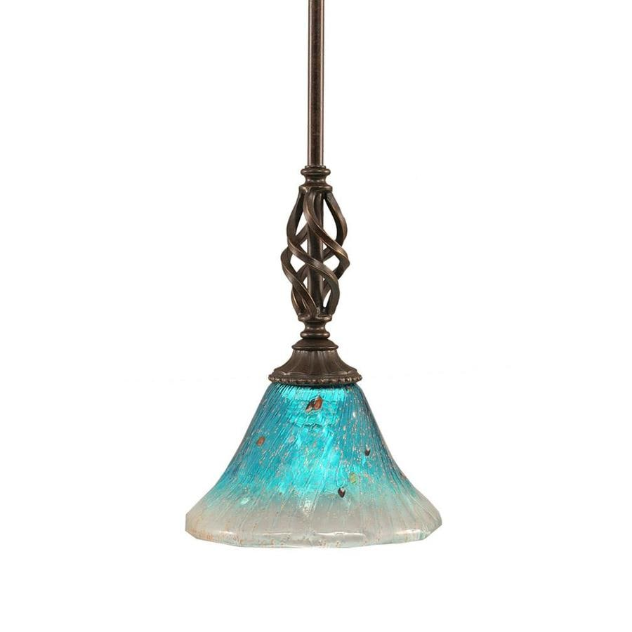 Divina 7-in Dark Granite Mini Marbleized Glass Pendant