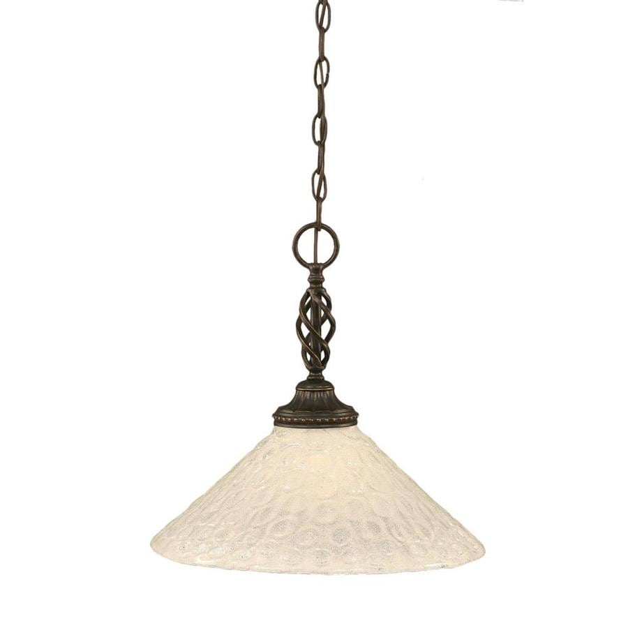 Divina 16-in Dark Granite Single Ribbed Glass Pendant