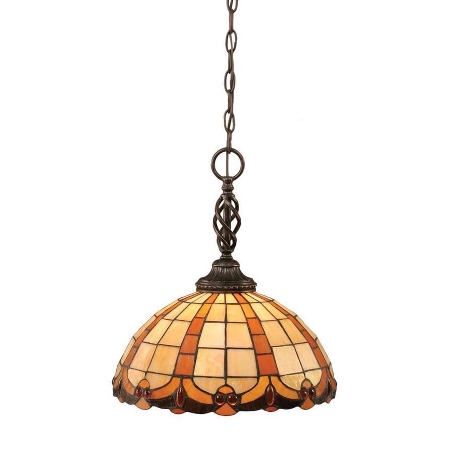 Divina 14.75-in Dark Granite Single Stained Glass Pendant