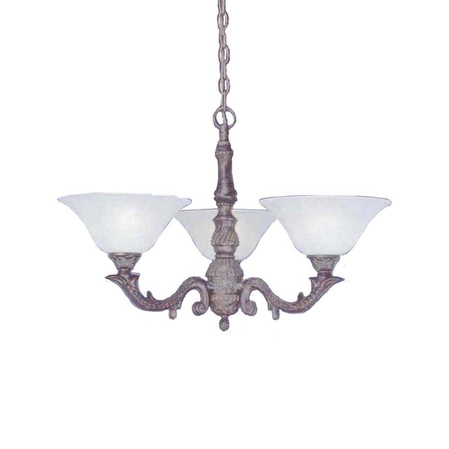 Divina 26.5-in 3-Light Bronze Marbleized Glass Candle Chandelier