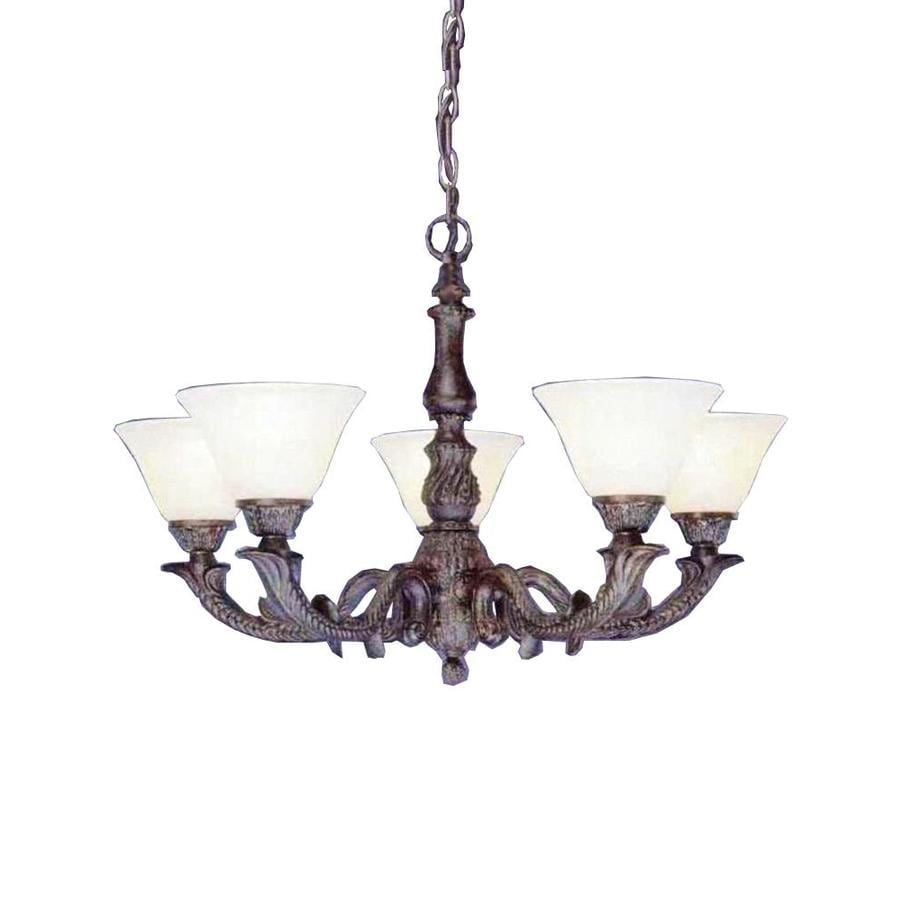 Divina 26.5-in 5-Light Bronze Tinted Glass Candle Chandelier
