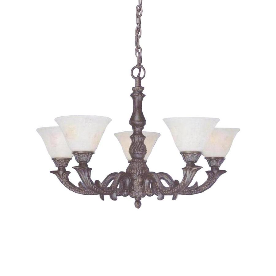 Divina 26.5-in 5-Light Bronze Marbleized Glass Candle Chandelier