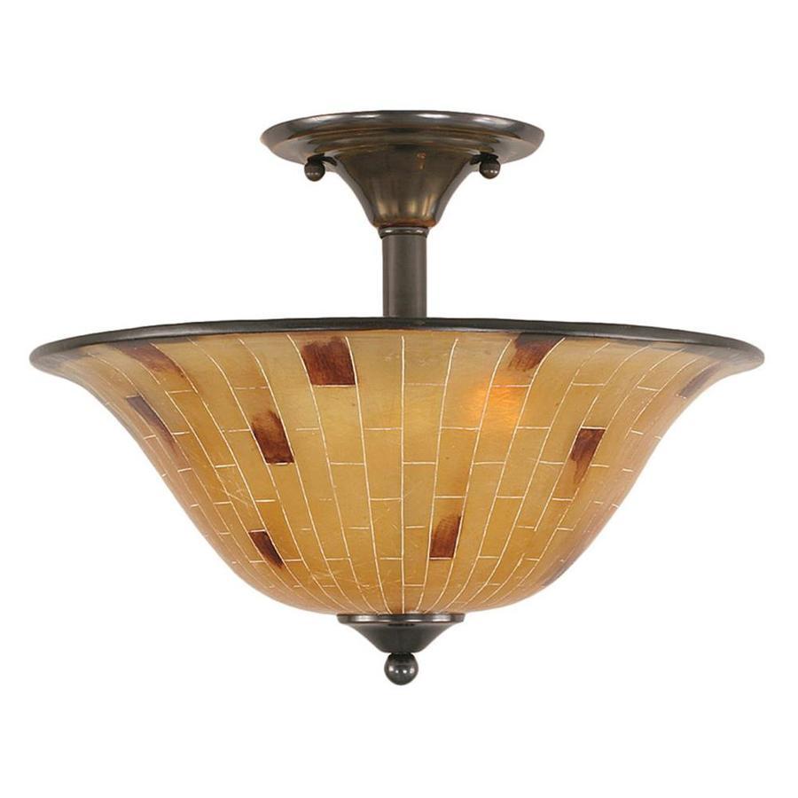 Divina 16-in W Black Copper Marbleized Semi-Flush Mount Light