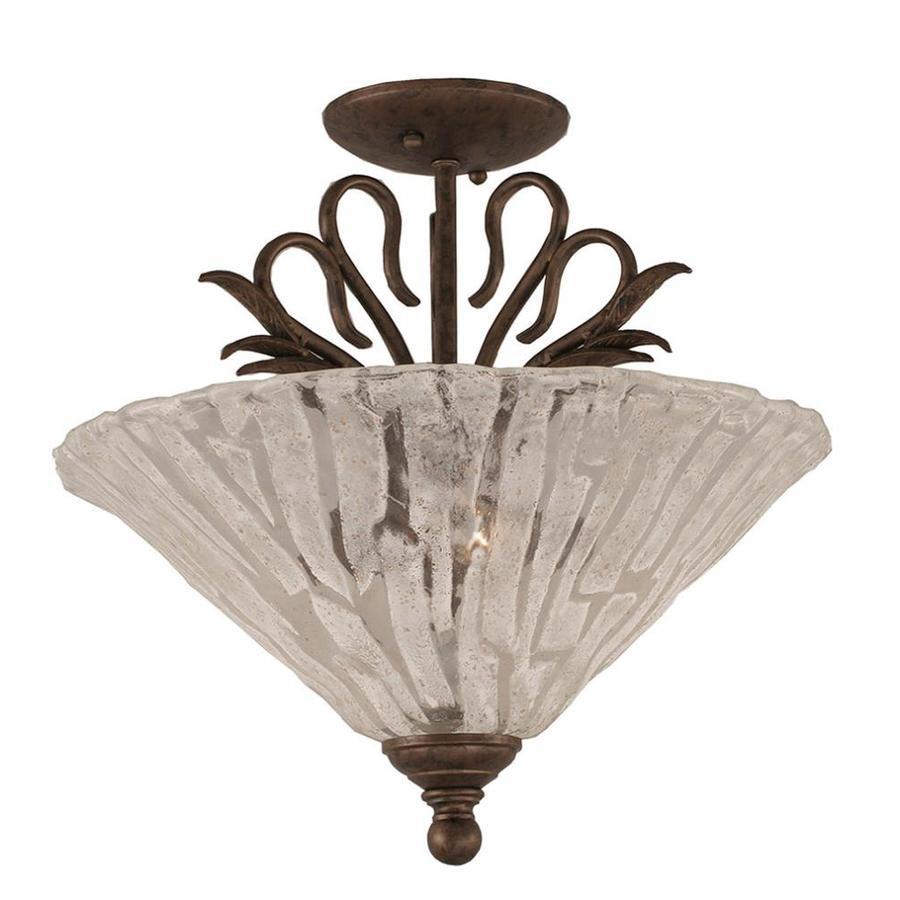Divina 16-in W Bronze Marbleized Semi-Flush Mount Light