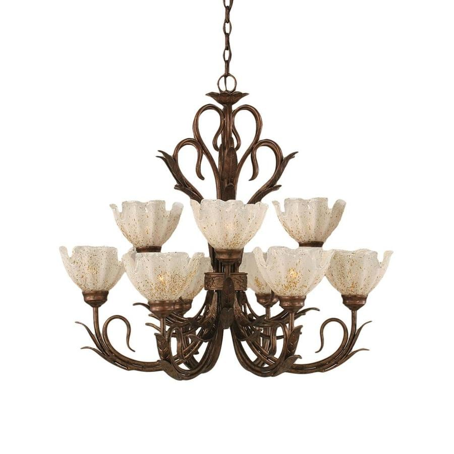 Divina 28.25-in 9-Light Bronze Tinted Glass Tiered Chandelier