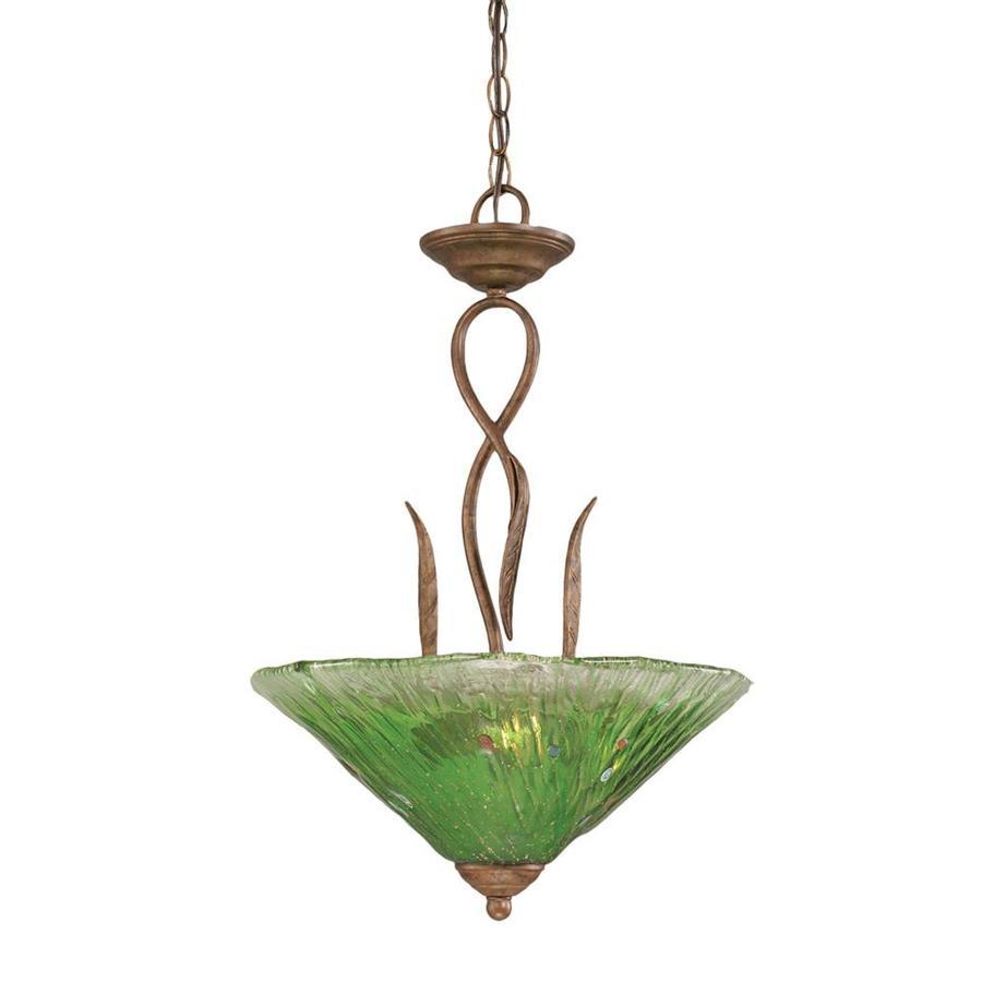 Divina 16-in Bronze Single Marbleized Glass Pendant