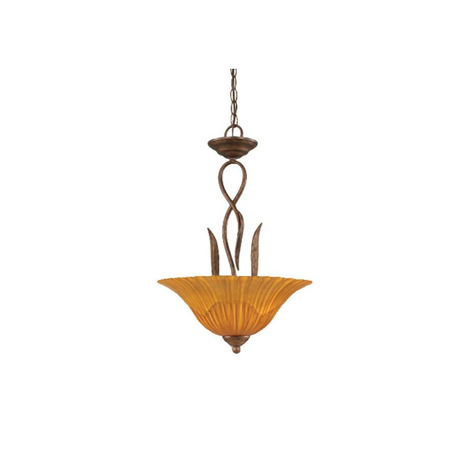 Divina 16-in Bronze Single Marbleized Glass Pendant