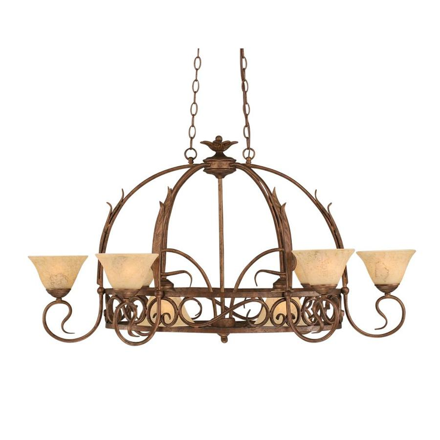 Brooster 32-in W 8-Light Bronze Lighted Pot Rack with Tinted Shade