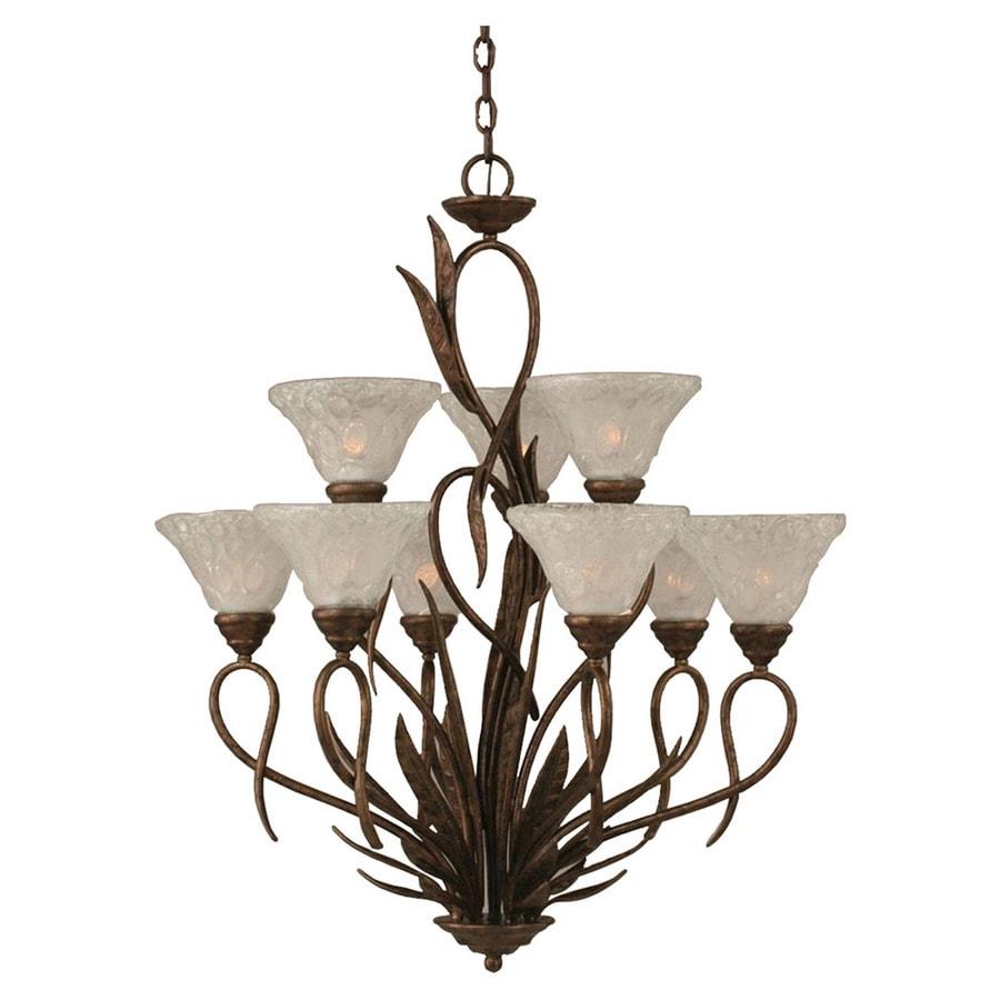 Divina 28.5-in 9-Light Bronze Tinted Glass Tiered Chandelier