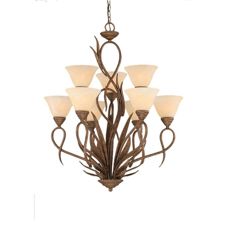 Divina 28-in 9-Light Bronze Marbleized Glass Tiered Chandelier