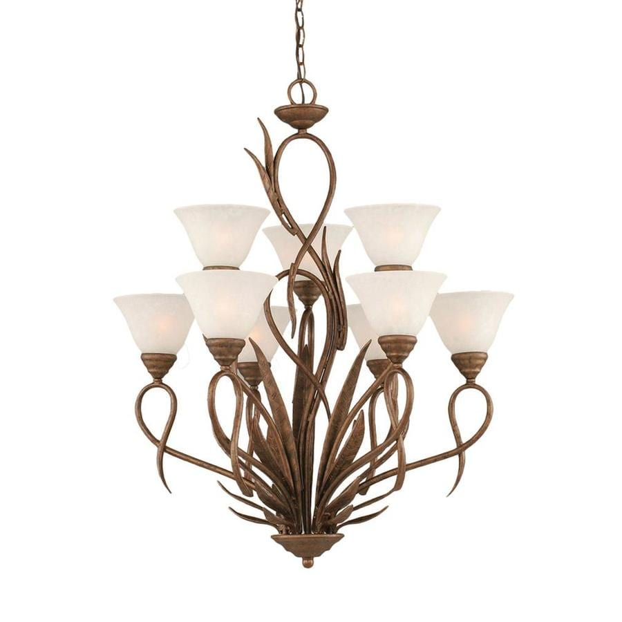 Divina 28-in 9-Light Bronze Marbleized Glass Tiered Chandelier