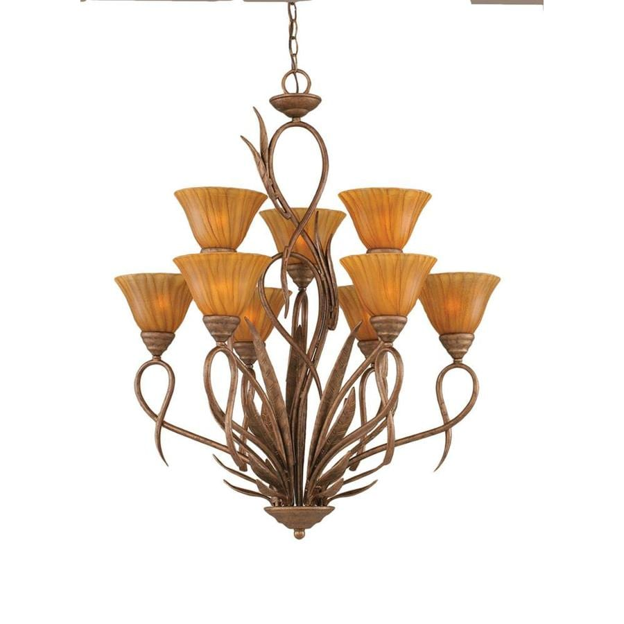 Divina 28-in 9-Light Bronze Tinted Glass Tiered Chandelier