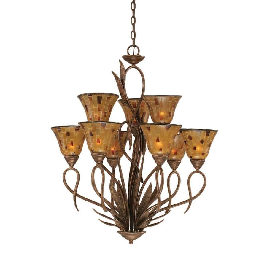 Divina 28-in 9-Light Bronze Tiered Chandelier