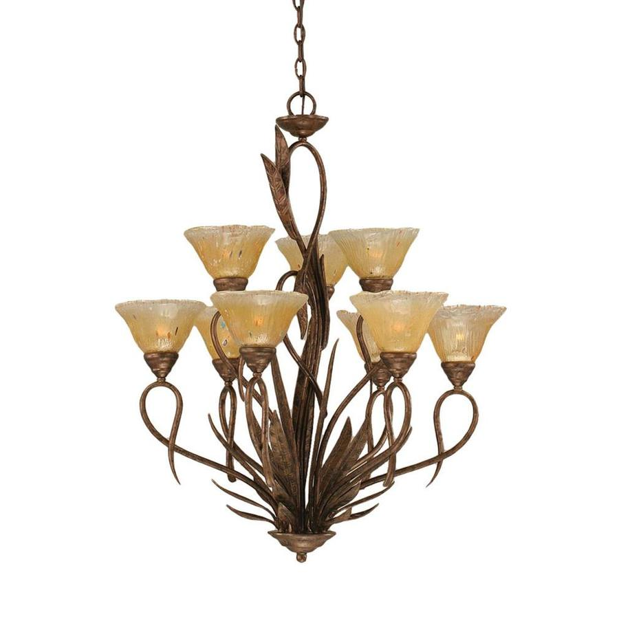 Divina 29-in 9-Light Bronze Tinted Glass Tiered Chandelier