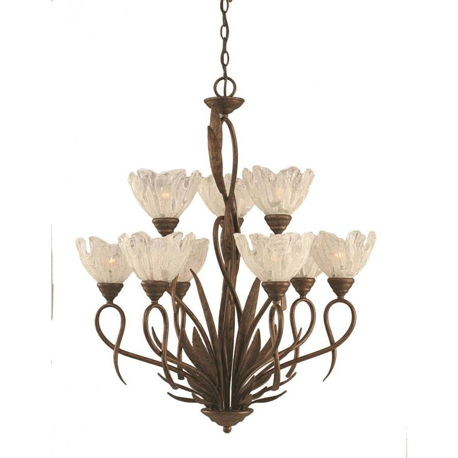 Divina 28-in 9-Light Bronze Tinted Glass Tiered Chandelier