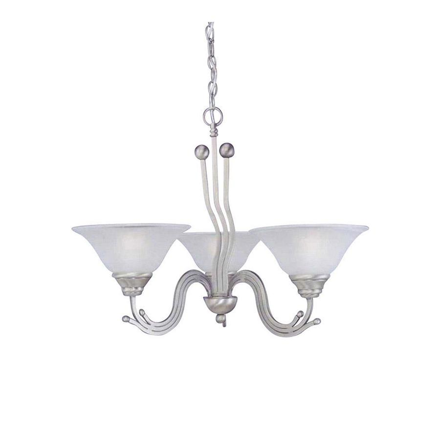 Divina 28.5-in 3-Light Brushed Nickel Tinted Glass Candle Chandelier