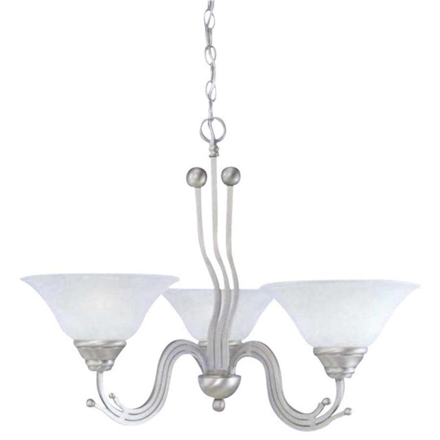 Divina 28.5-in 3-Light Brushed Nickel Marbleized Glass Candle Chandelier