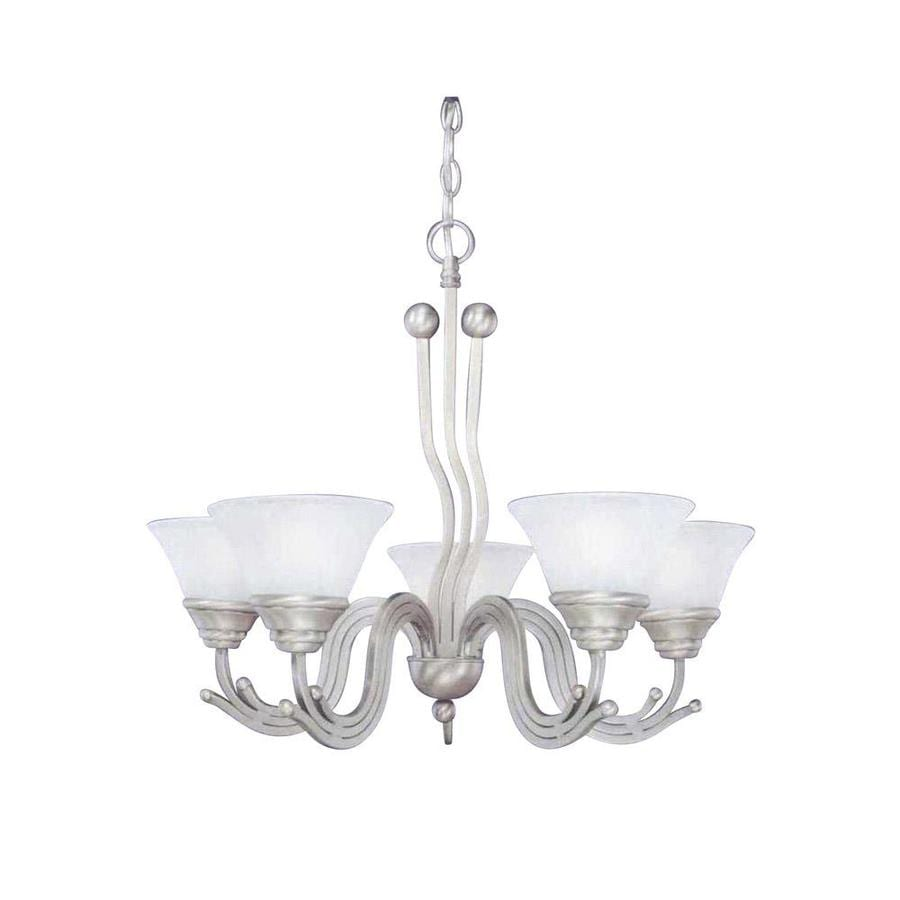 Divina 26.5-in 5-Light Brushed Nickel Marbleized Glass Candle Chandelier