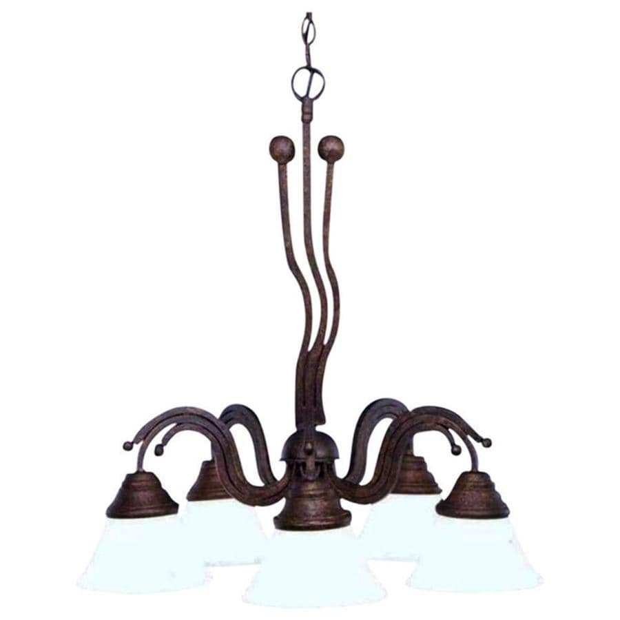 Divina 22.5-in 5-Light Bronze Marbleized Glass Candle Chandelier