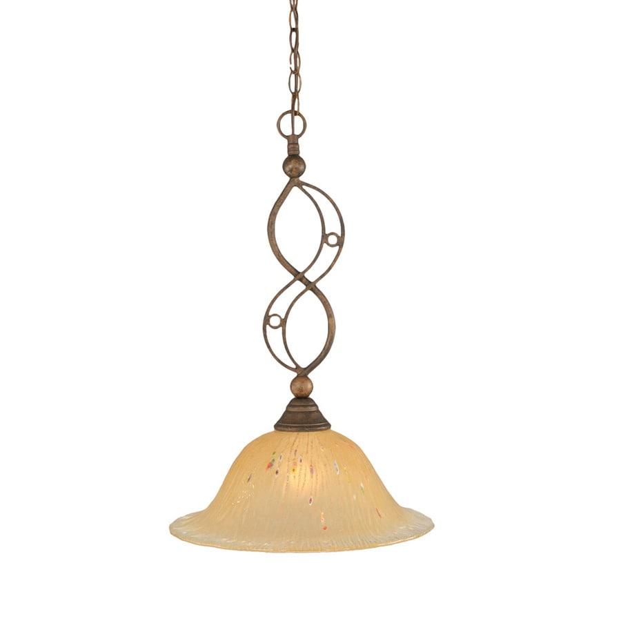 Divina 12-in Bronze Single Marbleized Glass Pendant