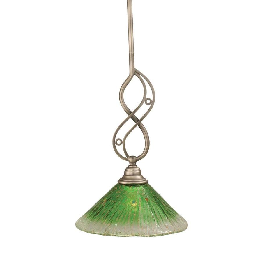 Brooster 10-in Brushed Nickel Mini Tinted Glass Bell Pendant