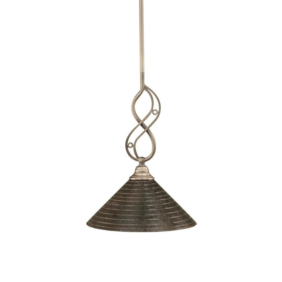 Brooster 12-in Brushed Nickel Single Textured Glass Bell Pendant