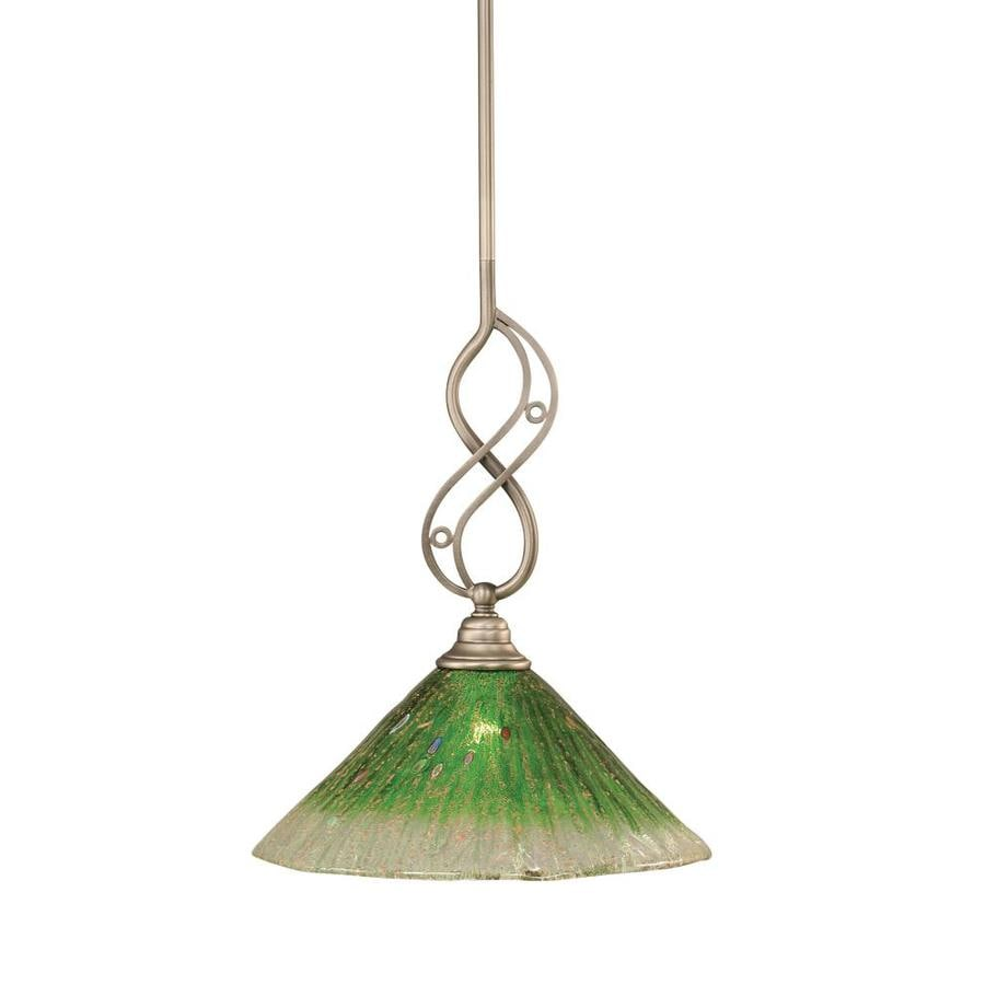 Brooster 12-in Brushed Nickel Single Tinted Glass Bell Pendant