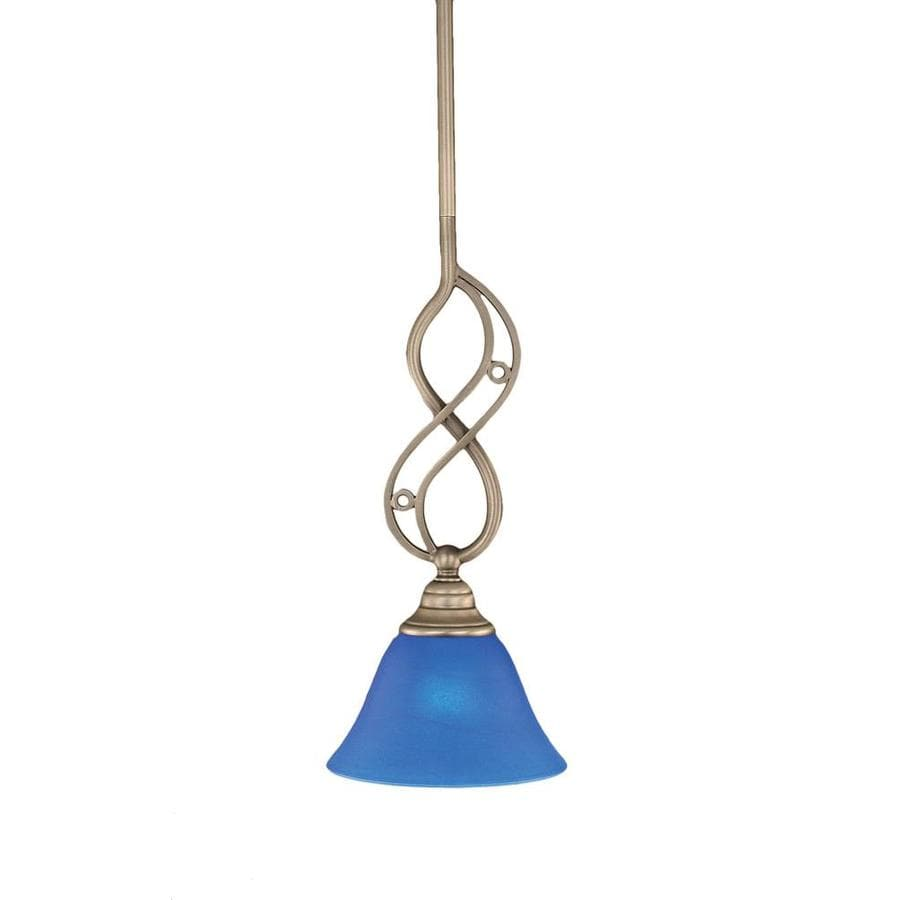Divina 7-in Brushed Nickel Mini Marbleized Glass Bell Pendant