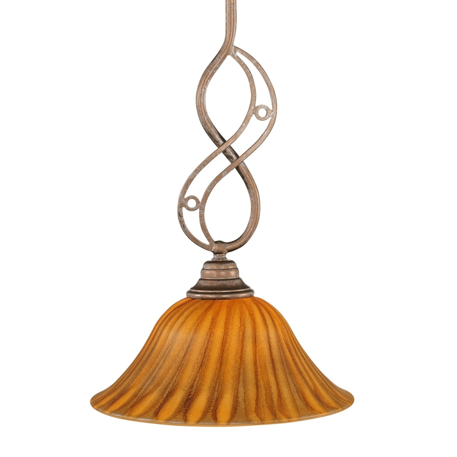 Brooster 10-in Bronze Mini Tinted Glass Bell Pendant