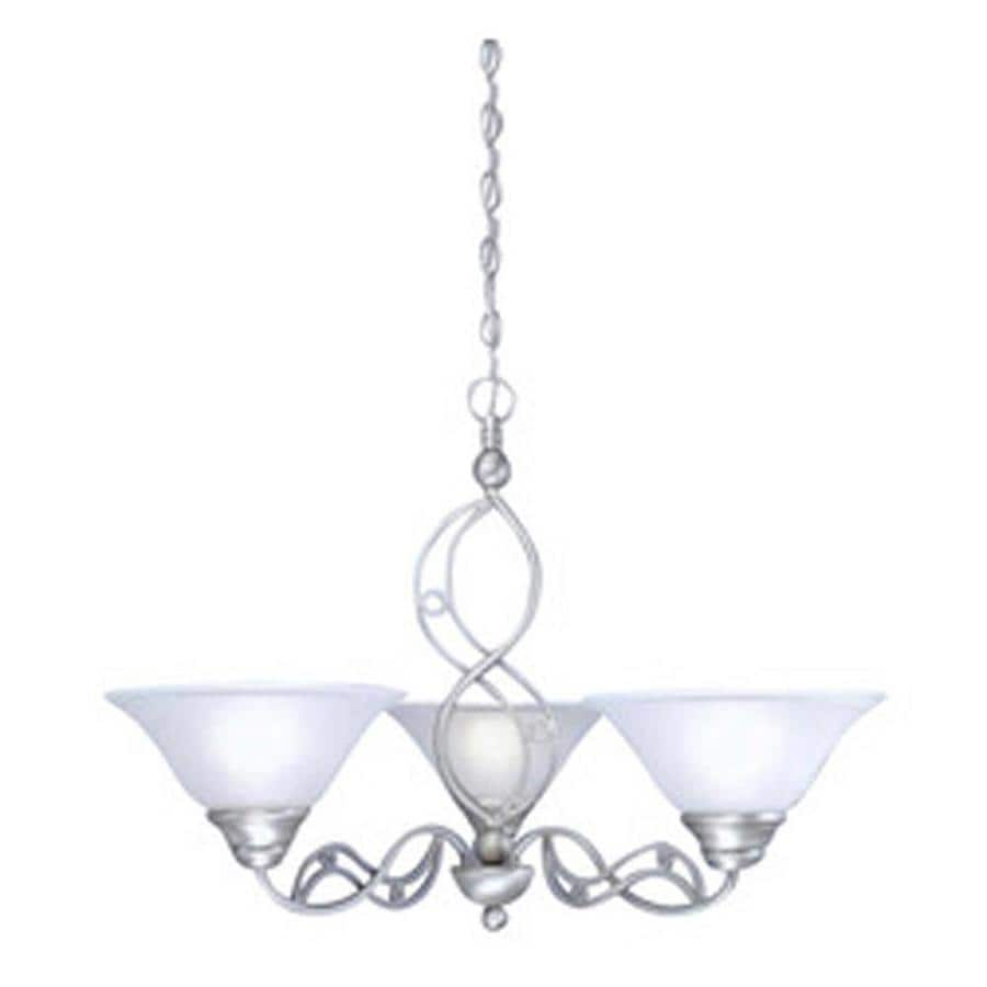 Divina 29-in 3-Light Brushed Nickel Tinted Glass Candle Chandelier