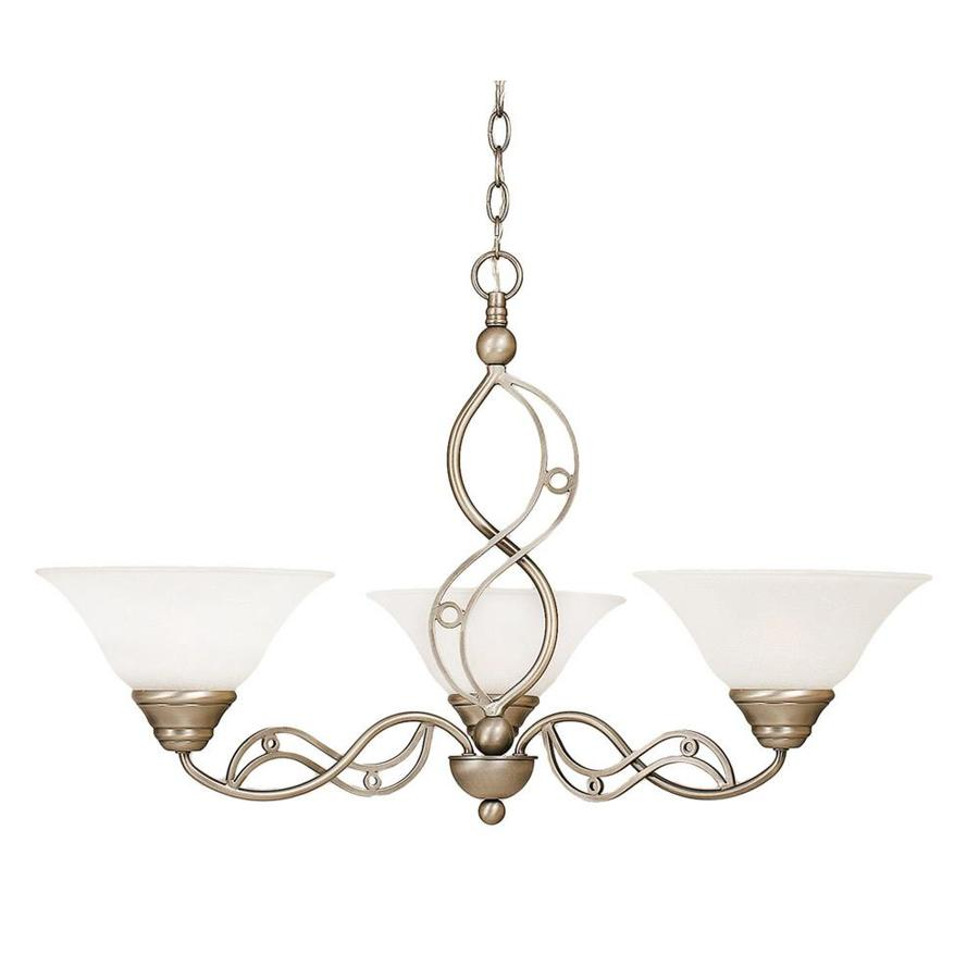 Divina 29-in 3-Light Brushed Nickel Marbleized Glass Candle Chandelier