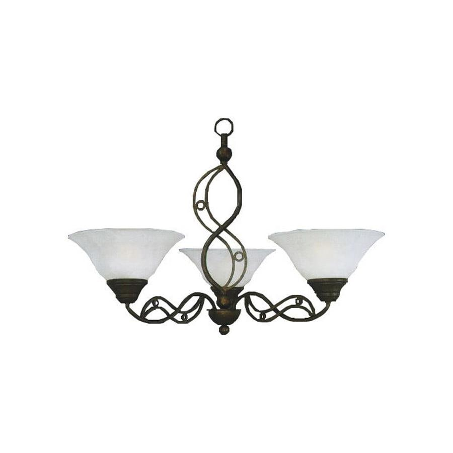 Divina 29-in 3-Light Bronze Marbleized Glass Candle Chandelier