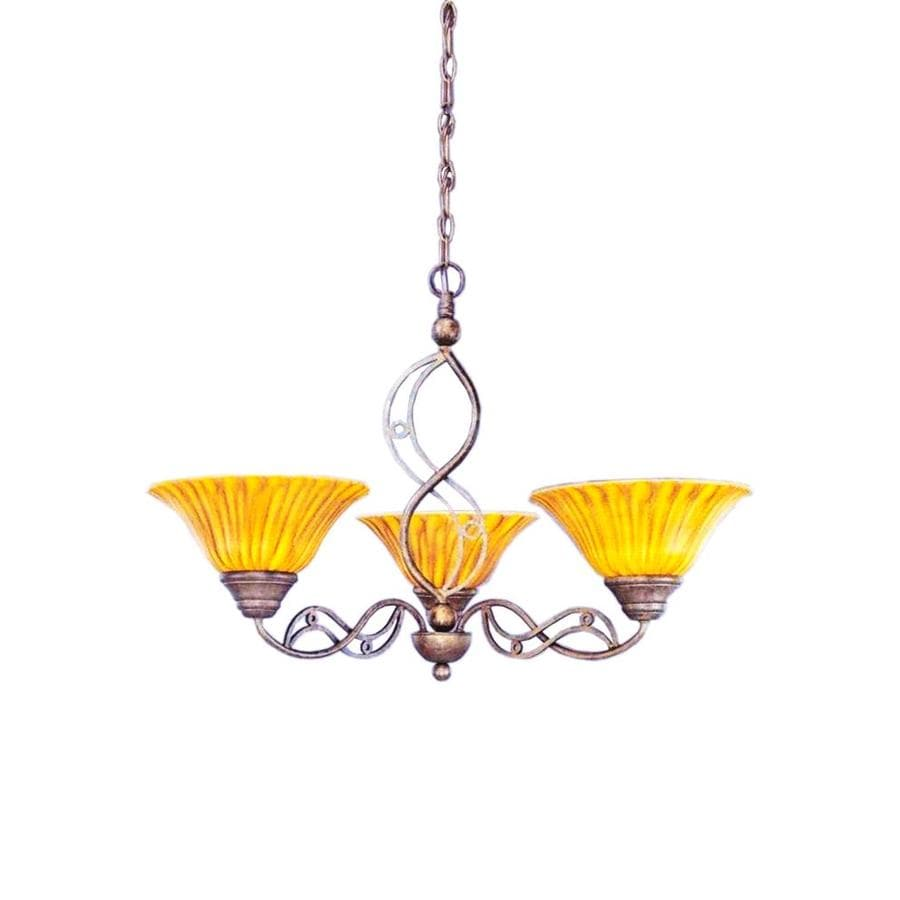 Divina 29-in 3-Light Bronze Tinted Glass Candle Chandelier