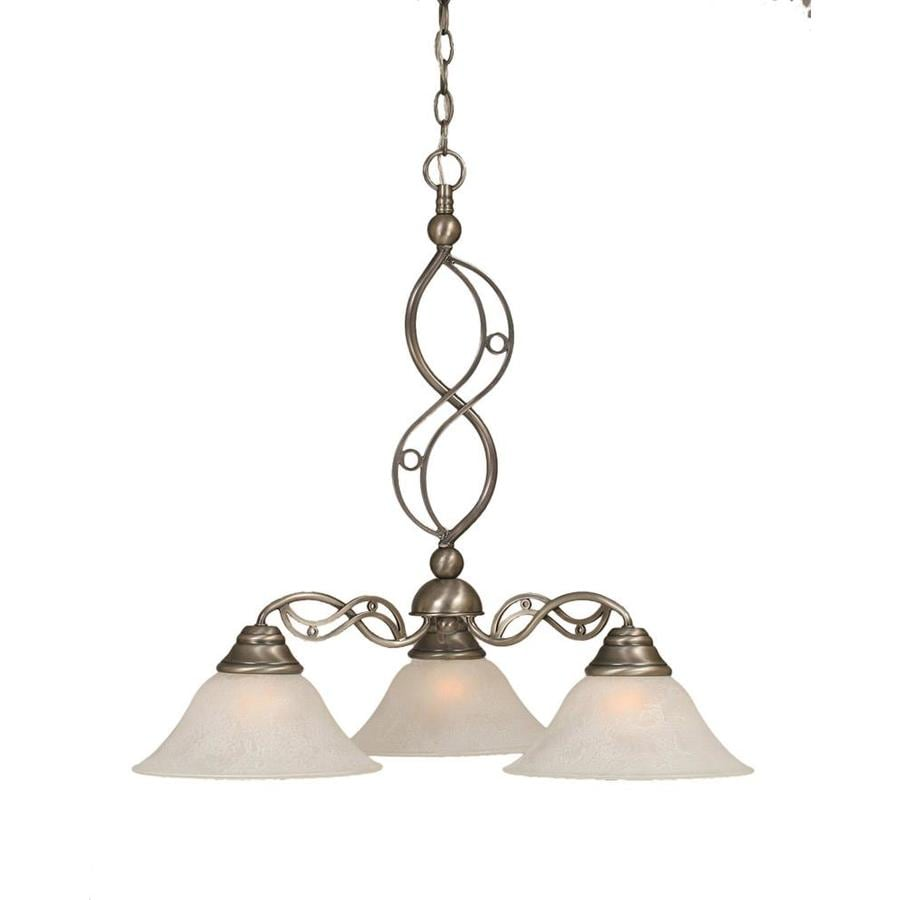 Divina 25.25-in 3-Light Brushed Nickel Tinted Glass Candle Chandelier