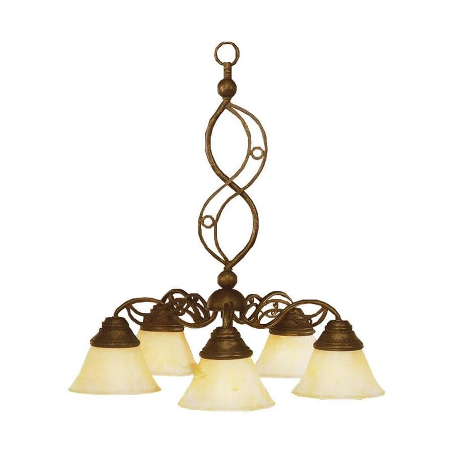 Divina 23-in 5-Light Bronze Marbleized Glass Candle Chandelier