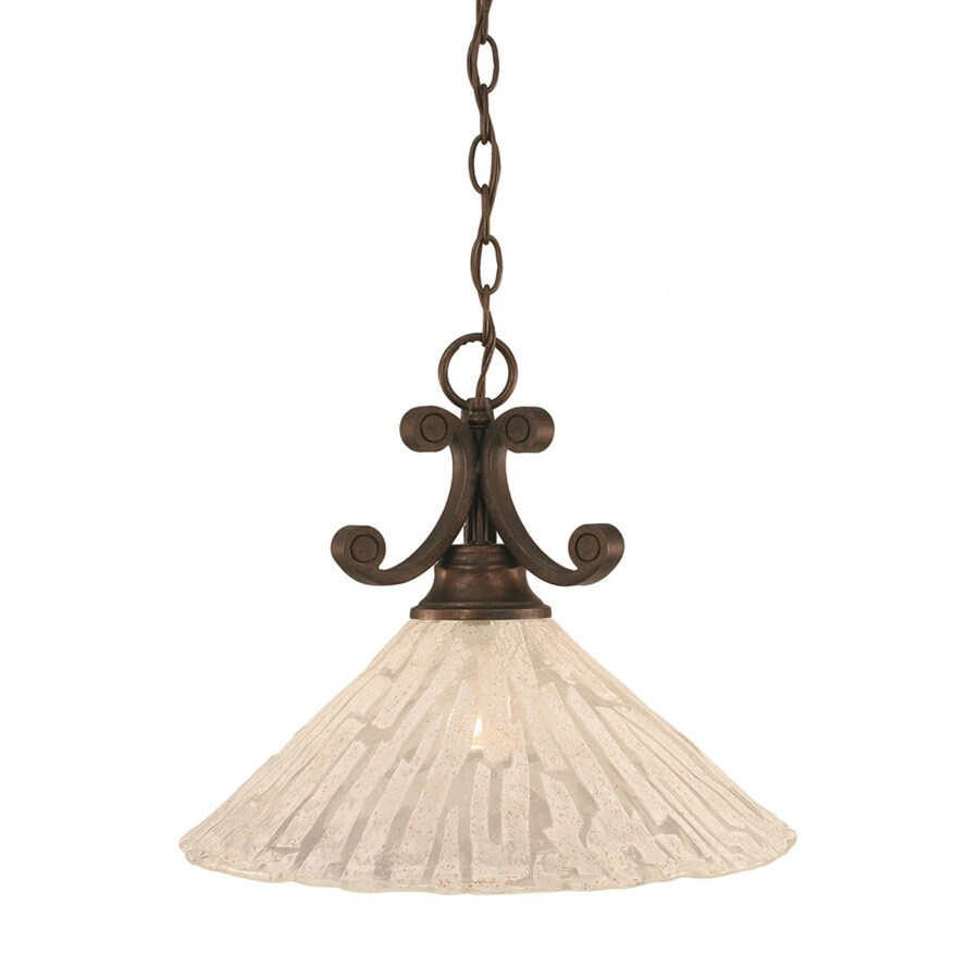Divina 16-in Bronze Single Marbleized Glass Bell Pendant