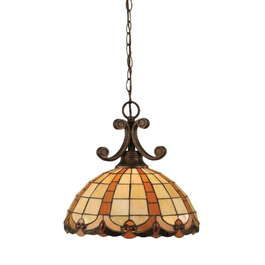 Divina 14-in Bronze Single Stained Glass Bell Pendant