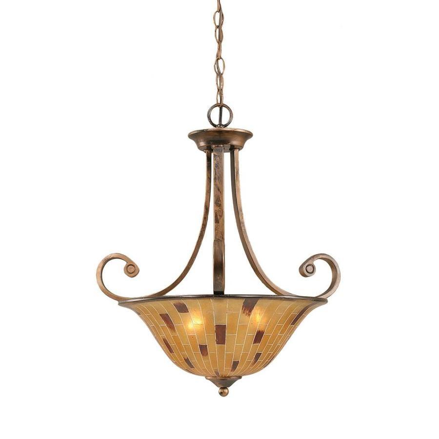 Divina 23.5-in Bronze Single Marbleized Glass Bell Pendant