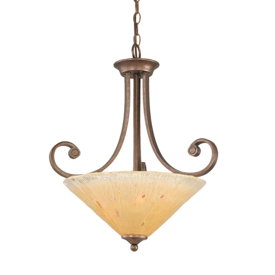 Divina 25-in Bronze Single Marbleized Glass Bell Pendant
