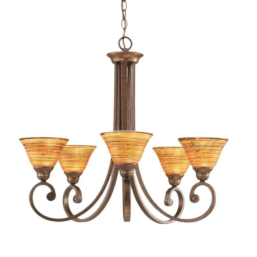 Divina 26.75-in 5-Light Bronze Tinted Glass Candle Chandelier