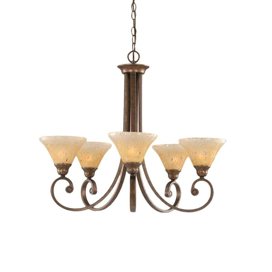 Divina 25-in 5-Light Bronze Tinted Glass Candle Chandelier