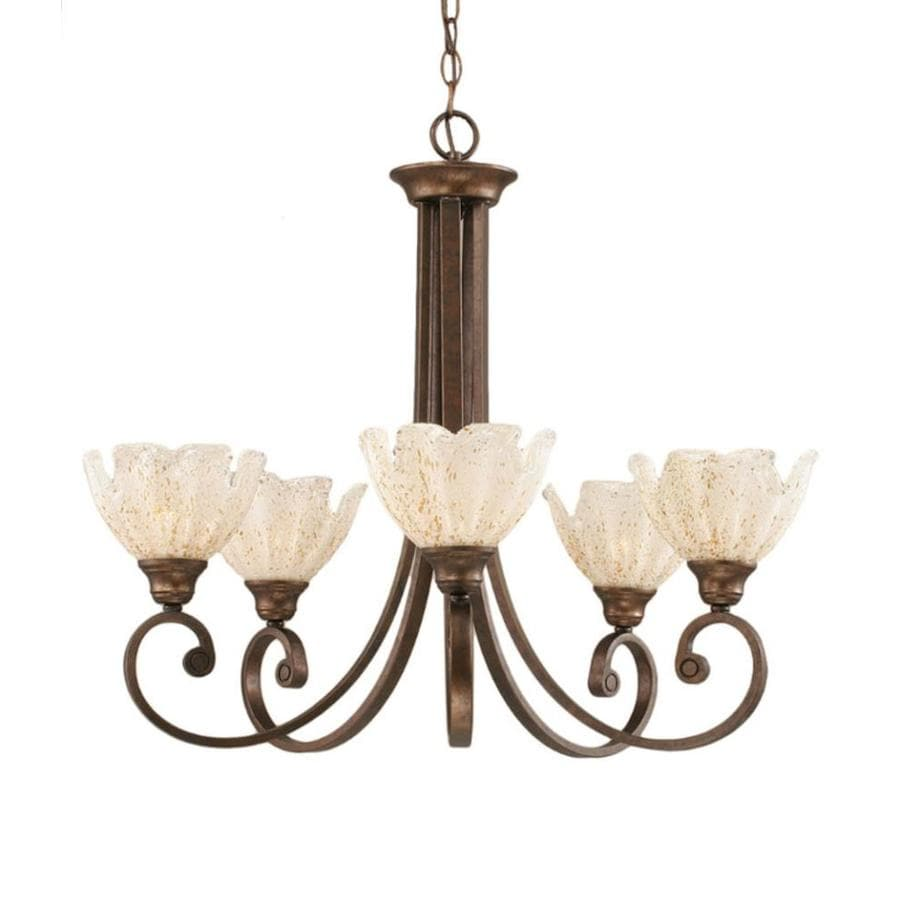 Divina 27-in 5-Light Bronze Tinted Glass Candle Chandelier