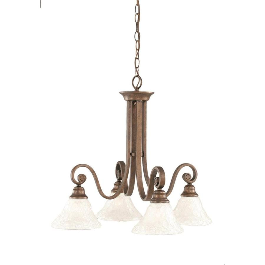 Divina 25-in 4-Light Bronze Tinted Glass Candle Chandelier