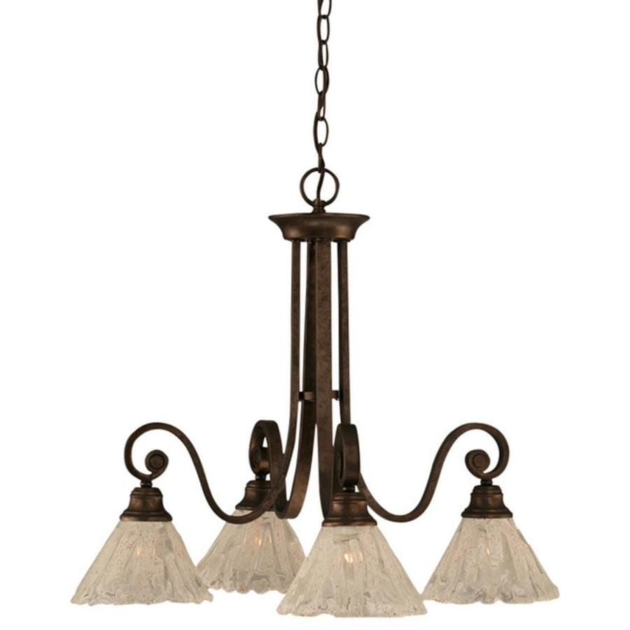 Divina 24.5-in 4-Light Bronze Tinted Glass Candle Chandelier