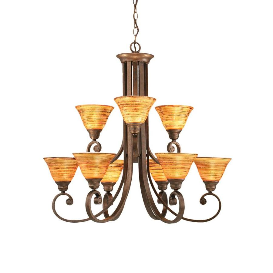Divina 30.75-in 9-Light Bronze Tinted Glass Tiered Chandelier