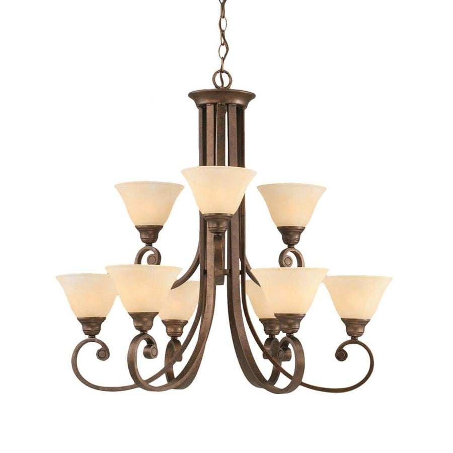 Divina 30.75-in 9-Light Bronze Marbleized Glass Tiered Chandelier