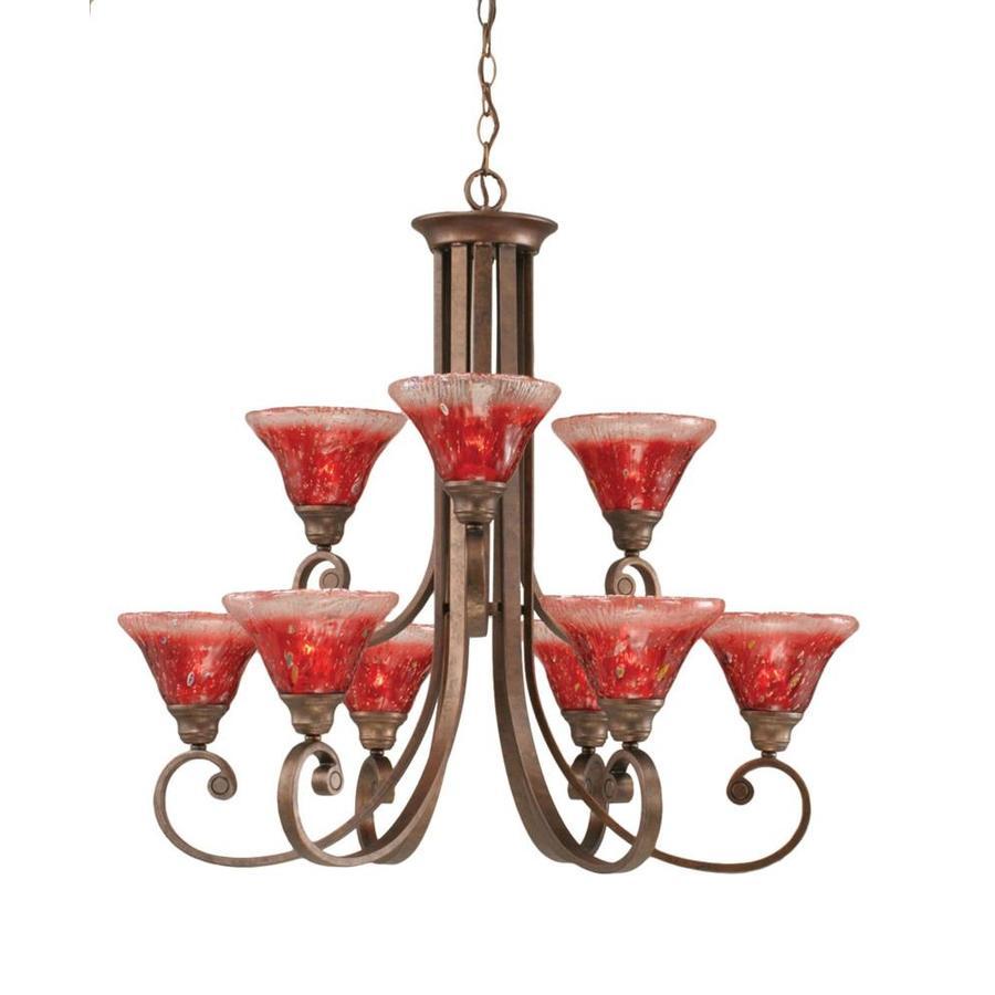 Divina 31.25-in 9-Light Bronze Tinted Glass Tiered Chandelier